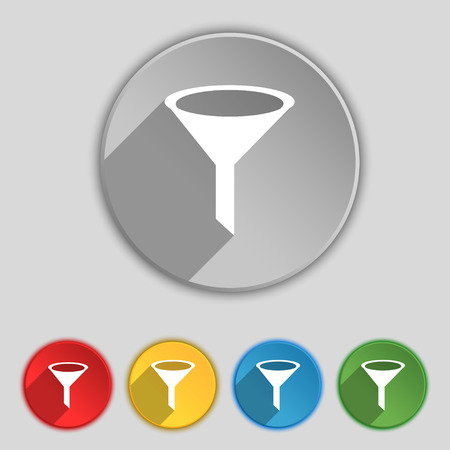 filtering: Funnel icon sign. Symbol on five flat buttons. Vector illustration