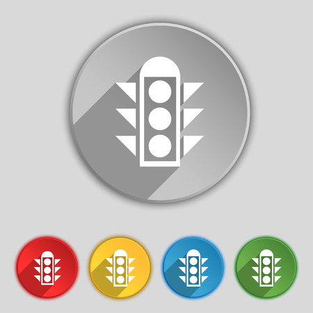 light signal: Traffic light signal icon sign. Symbol on five flat buttons