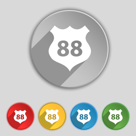 highway icon: Route 88 highway icon sign. Symbol on five flat buttons. Vector illustration