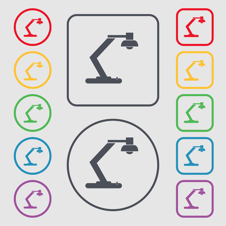 electricity icon: light, bulb, electricity icon sign. symbol on the Round and square buttons with frame. Vector illustration