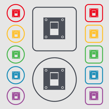 power switch: Power switch icon sign. symbol on the Round and square buttons with frame. Vector illustration Illustration