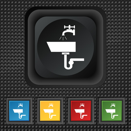 plating: Washbasin icon sign. symbol Squared colourful buttons on black texture. Vector illustration