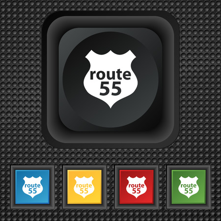 highway icon: Route 55 highway icon sign. symbol Squared colourful buttons on black texture. Vector illustration