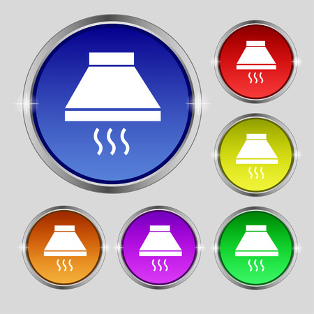 aspirator: Kitchen hood icon sign. Round symbol on bright colourful buttons. Vector illustration Illustration