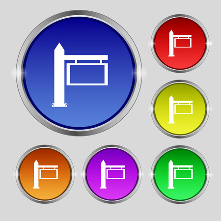 blue signage: Information Road Sign icon sign. Round symbol on bright colourful buttons. Vector illustration