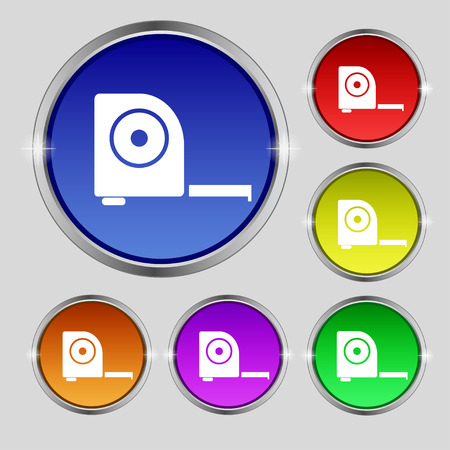 inches: Roulette construction icon sign. Round symbol on bright colourful buttons. Vector illustration Illustration