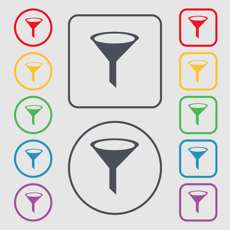 filtered: Funnel icon sign. symbol on the Round and square buttons with frame