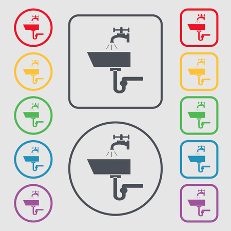 plating: Washbasin icon sign. symbol on the Round and square buttons with frame Illustration