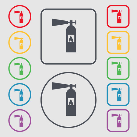 flammability: fire extinguisher icon sign. symbol on the Round and square buttons with frame Illustration