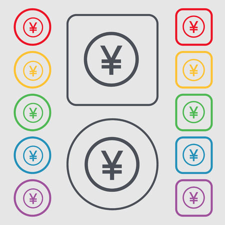 japanese yen: Japanese Yen icon sign. symbol on the Round and square buttons with frame Illustration