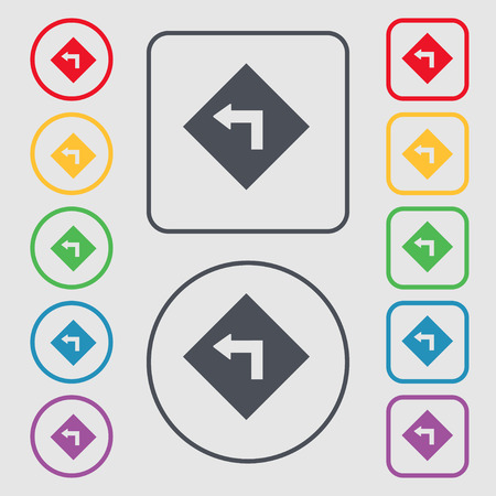 curve ahead sign: Road sign warning of dangerous left curve icon sign. symbol on the Round and square buttons with frame