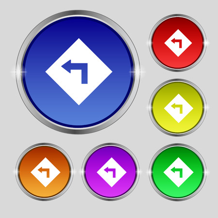 curve ahead sign: Road sign warning of dangerous left curve icon sign. Round symbol on bright colourful buttons. Vector illustration Illustration