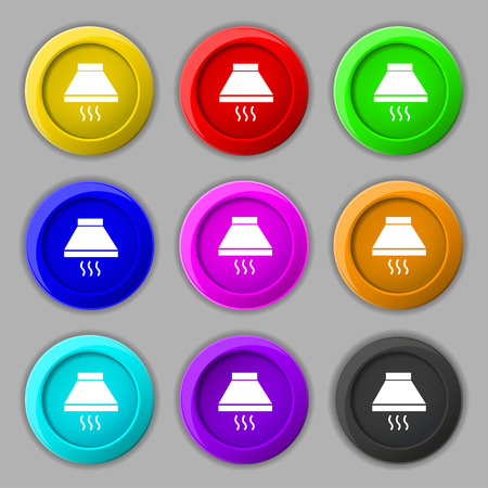 aspirator: Kitchen hood icon sign. symbol on nine round colourful buttons. Vector illustration Illustration