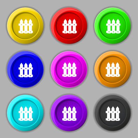 bucolic: Recinzione segno icona. simbolo su nove pulsanti colorati. Illustrazione vettoriale