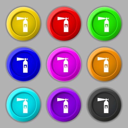 disaster prevention: fire extinguisher icon sign. symbol on nine round colourful buttons. Vector illustration