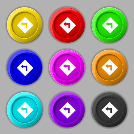 curve ahead sign: Road sign warning of dangerous left curve icon sign. symbol on nine round colourful buttons. Vector illustration