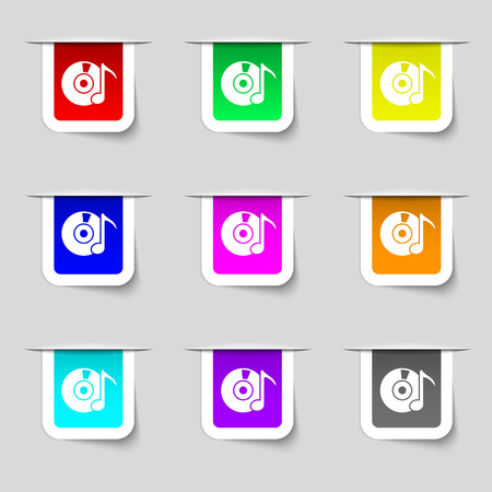 cdr: CD or DVD icon sign. Set of multicolored modern labels for your design. Vector illustration