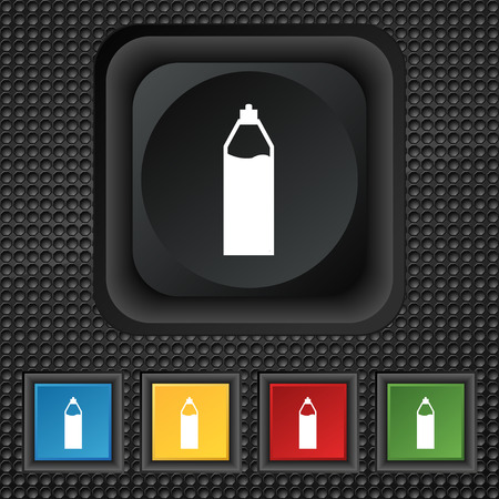 colas: Plastic bottle with drink icon sign. symbol Squared colourful buttons on black texture