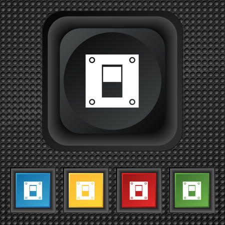 power switch: Power switch icon sign. symbol Squared colourful buttons on black texture