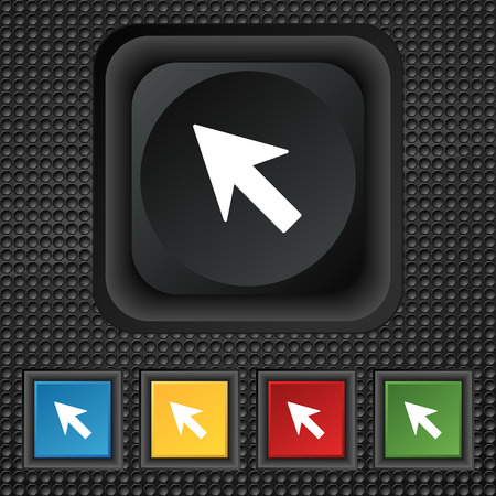 cursor arrow: Cursor, arrow icon sign. symbol Squared colourful buttons on black texture