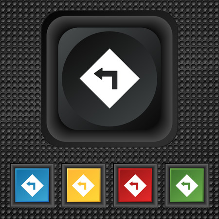 dangerous: Road sign warning of dangerous left curve icon sign. symbol Squared colourful buttons on black texture