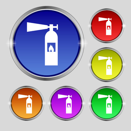 colourful fire: fire extinguisher icon sign. Round symbol on bright colourful buttons