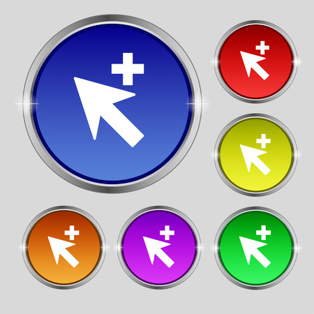 cursor arrow: Cursor, arrow plus, add icon sign. Round symbol on bright colourful buttons