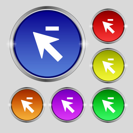 cursor arrow: Cursor, arrow minus icon sign. Round symbol on bright colourful buttons