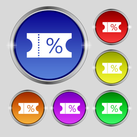 entry admission: ticket discount icon sign. Round symbol on bright colourful buttons