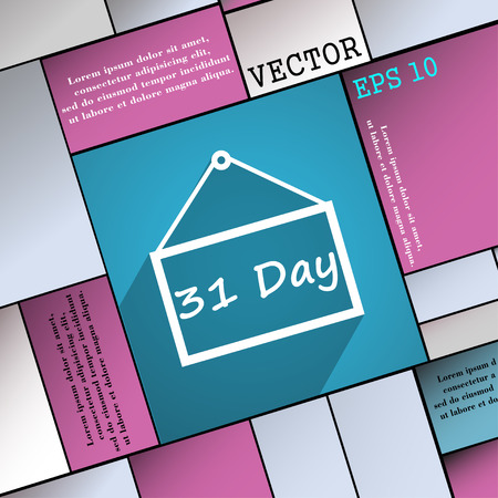31: Calendar day, 31 days  icon symbol Flat modern web design with long shadow and space for your text. Vector illustration