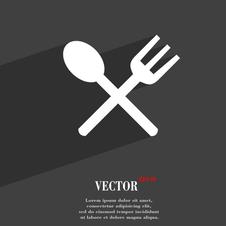 eat: Fork and spoon crosswise, Cutlery, Eat  icon symbol Flat modern web design with long shadow and space for your text. Vector illustration