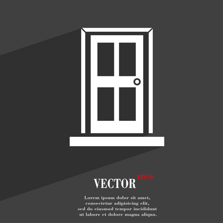 Door  icon symbol Flat modern web design with long shadow and space for your text. Vector illustration