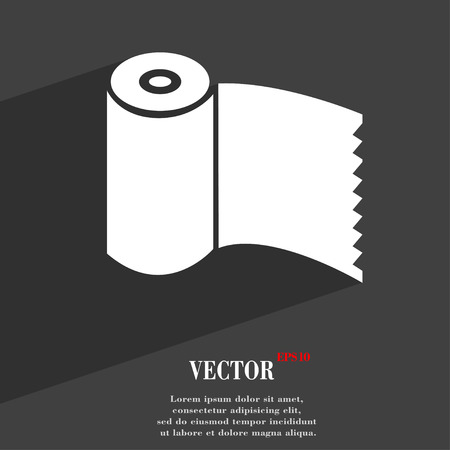 Toilet paper, WC roll  icon symbol Flat modern web design with long shadow and space for your text. Vector illustration
