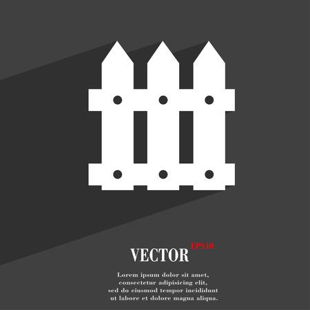 bucolic: Fence icona simbolo piatto moderno web design con una lunga ombra e lo spazio per il testo. Illustrazione vettoriale