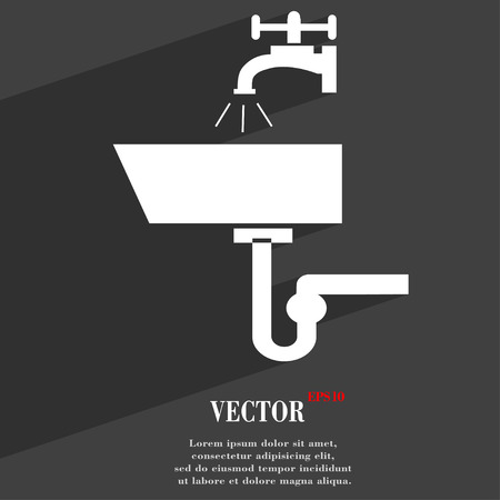 plating: Washbasin  icon symbol Flat modern web design with long shadow and space for your text. Vector illustration
