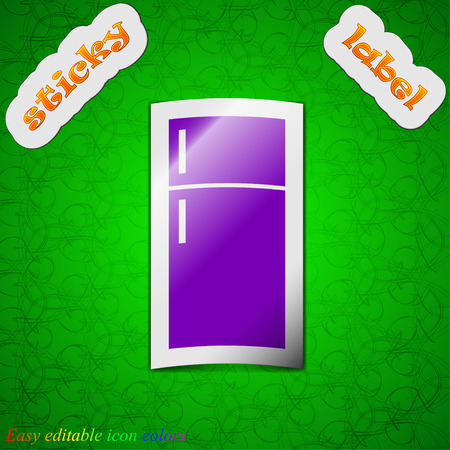 cold storage: Refrigerator icon sign. Symbol chic colored sticky label on green background. Vector illustration