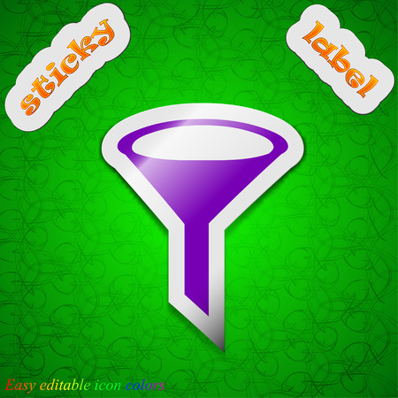 filtering: Funnel icon sign. Symbol chic colored sticky label on green background. Vector illustration