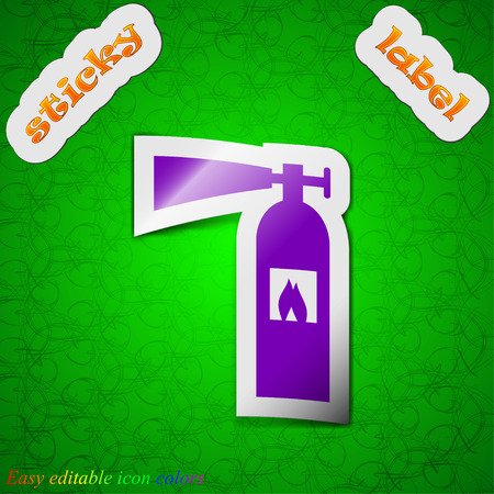 suppression: fire extinguisher icon sign. Symbol chic colored sticky label on green background. Vector illustration