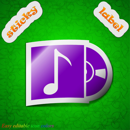 cd player: cd player icon sign. Symbol chic colored sticky label on green background. Vector illustration