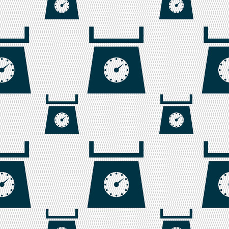 grams: kitchen scales icon sign. Seamless pattern with geometric texture. Vector illustration Illustration