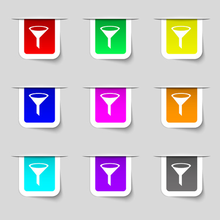 filtering: Funnel icon sign. Set of multicolored modern labels