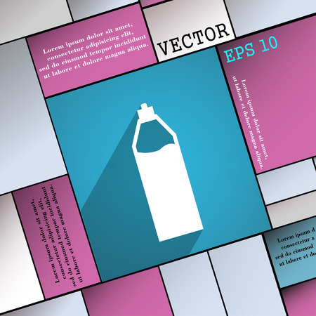 colas: Plastic bottle with drink icon symbol Flat modern web design with long shadow and space Illustration