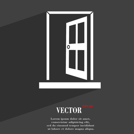ajar: Door, Enter or exit  icon symbol Flat modern web design with long shadow and space