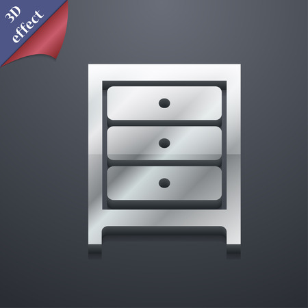 nightstand: Nightstand icon symbol. 3D style