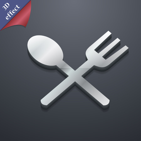 crosswise: Fork and spoon crosswise, Cutlery, Eat icon symbol. 3D style