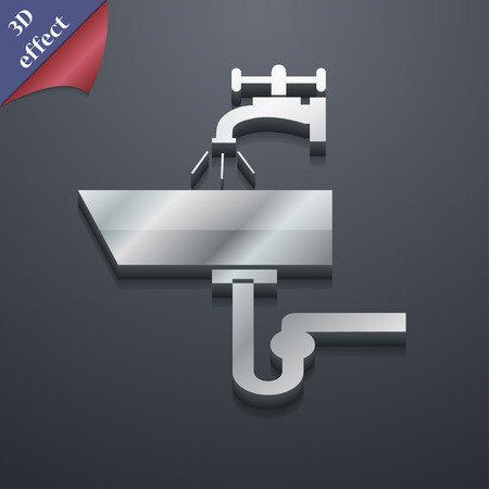 plating: Washbasin  icon symbol. 3D style Illustration