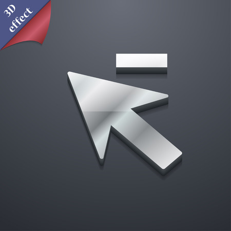 cursor arrow: Cursor, arrow minus  icon symbol. 3D style. Trendy, modern design with space illustration