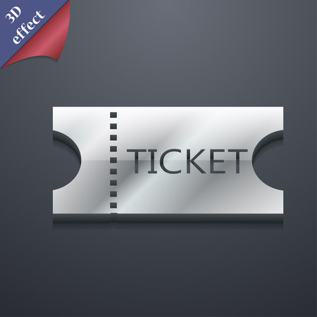ticket  icon symbol. 3D style. Trendy, modern design with space illustration