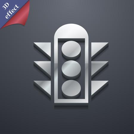 light signal: Traffic light signal  icon symbol. 3D style. Trendy, modern design with space illustration Illustration