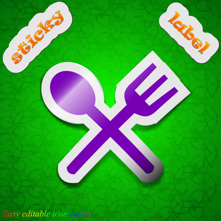 crosswise: Fork and spoon crosswise, Cutlery, Eat icon sign. Symbol chic colored sticky label on green background